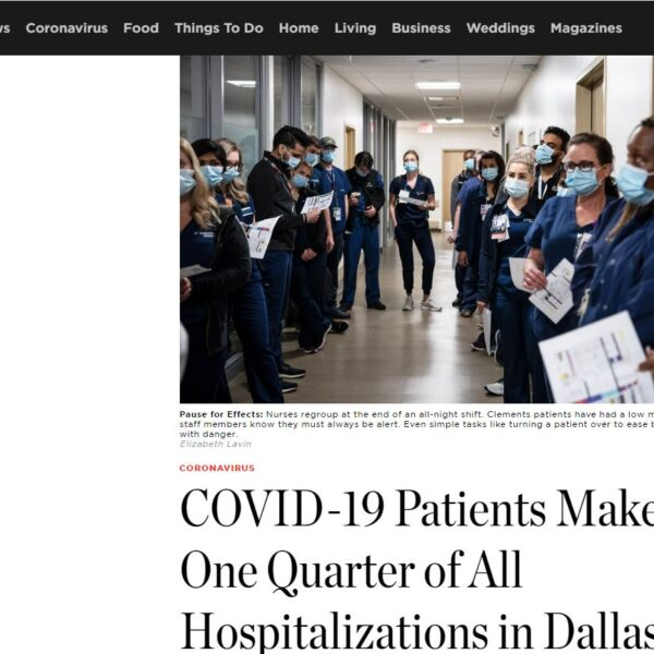In the news: COVID-19 Patients Make Up One Quarter of All Hospitalizations